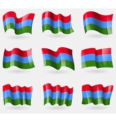 Set of Karelia flags in the air vector