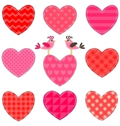 Set of red and pink hearts and birds vector