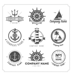 Set vintage nautical labels icons and design vector