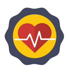 Sticker heartbeat cardio vital sign vector