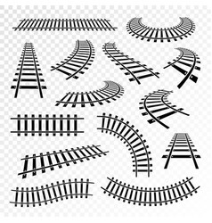 Straight and curved rails icon set vector