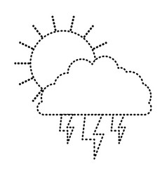 sun cloud and lightning monochrome sticker vector image