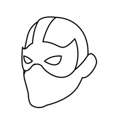 Superhero man face male with the mask cartoon vector