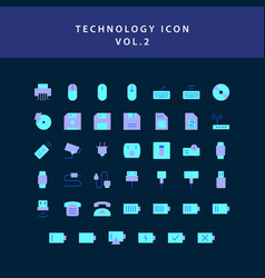 technology flat style design icon set vol2 vector image