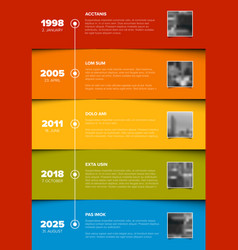 Timeline template with color blocks and photo vector