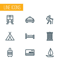 traveling icons line style set with bed hotel vector image