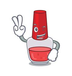 Two finger nail polish character cartoon vector