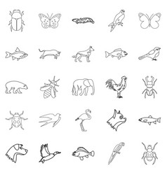 Urban animals set outline style vector