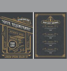 vintage restaurant menu design template vector image