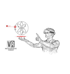 Vr wireframe headset man with atom banner vector