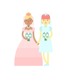 Wedding couple Cute flat characters brides vector