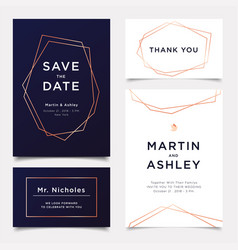 wedding invitation art deco style invite thank vector image