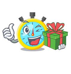 with gift stowatch on a mascot wood table vector image