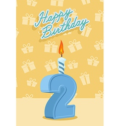 Birthday candle number 2 with flame vector image vector image