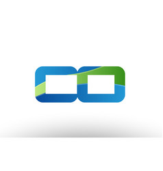Blue green co c o alphabet letter logo vector