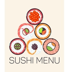 Japanese restaurant sushi menu logo template vector image