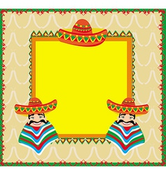 Mexican frame with man in sombrero vector