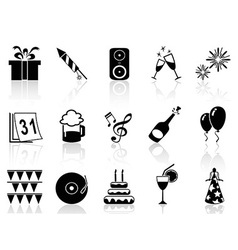 new year holiday icons set vector image vector image