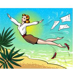 pop art of businesswoman vector image