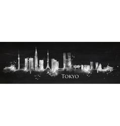 Silhouette chalk Tokyo vector image