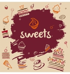 Banner hand-drawn sweets vector image
