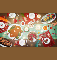 christmas festive dinner delicious traditional vector image vector image