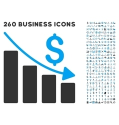 Recession Icon with Flat Set vector image vector image