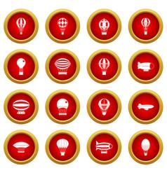 retro balloons aircraft icon red circle set vector image vector image