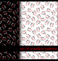 set of seamless pattern with sing or symbol of cat vector image