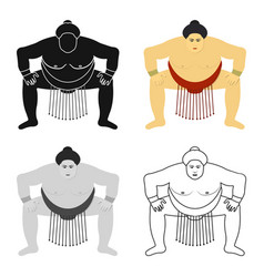 sumo wrestler icon in cartoon style isolated on vector image
