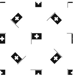 switzerland flag pattern seamless black vector image vector image