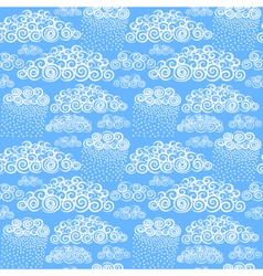 Blue sky with hand drawn stylize cute curly clouds vector image vector image