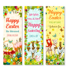 easter holiday symbols greeting banner set design vector image vector image