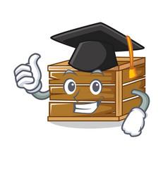 Graduation crate character cartoon style vector