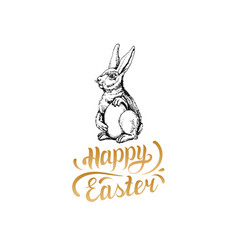 happy easter hand lettering greeting card vector image
