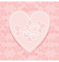 Lace pink in heart shape vector image vector image
