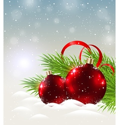 Two shining red decorations in snow vector image vector image
