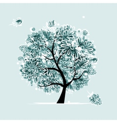 Winter tree with frozen flowers for your design vector image