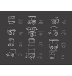 Cart stall sketch icons on black vector image