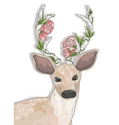 Cute hipster deer with flowers on his horns vector image