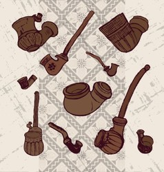 Ink hand drawn ukrainian traditional tobacco pipes vector image