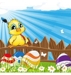 Little cartoon chicken with paintbrush vector image