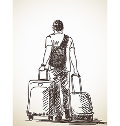 man with suitcases vector image