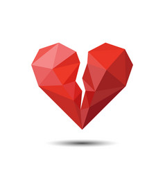 Polygon red broken heart icon for valentines day vector