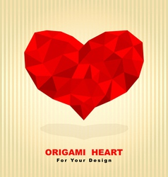 red origami heart vector image vector image