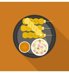 Satay grilled pork or meat with sauce vector image vector image
