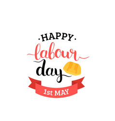 1st may lettering background happy labour vector image