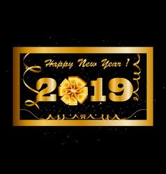 2019 happy new year background with golden gift vector image
