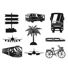 9 black and white vacation monochrome icons vector