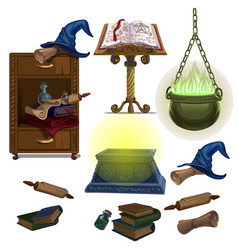 acculite ancient manuscripts books potion hat vector image